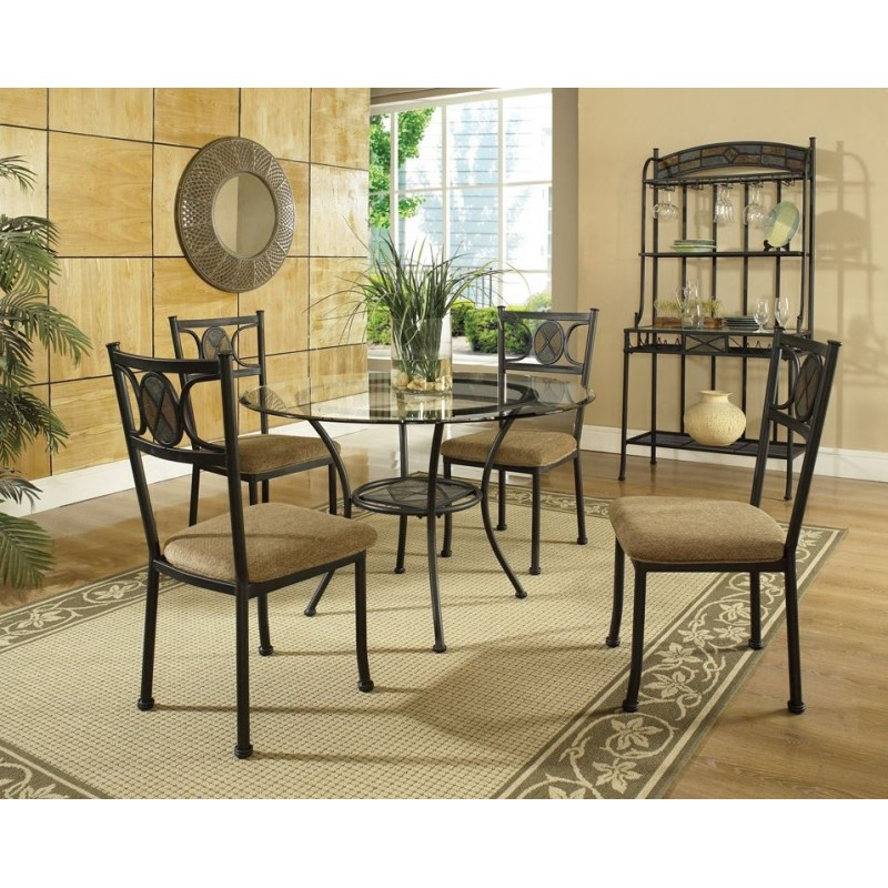 Carolyn Metal And Glass 5pc Dining Set Cedar Hill Furniture