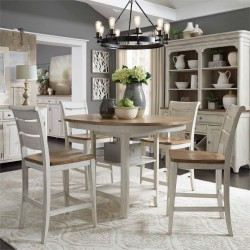 Farmhouse 5 Piece Gathering Table Set