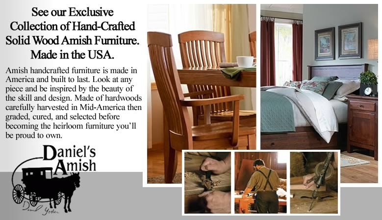 Handcrafted Amish Furniture exclusively at Cedar Hill Furniture.