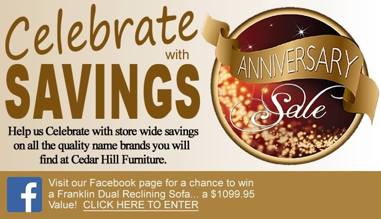Help us Celebrate and enter to win a Franklin Reclining sofa.